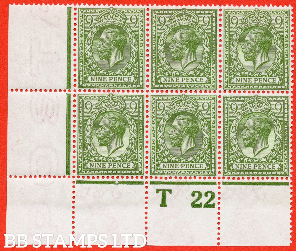 "SG. 393a. N30 (1). 9d olive green. A superb totally UNMOUNTED MINT control "" T22 perf "" corner block of 6 from plate 1f. A VERY RARE block to find totally unmounted mint."