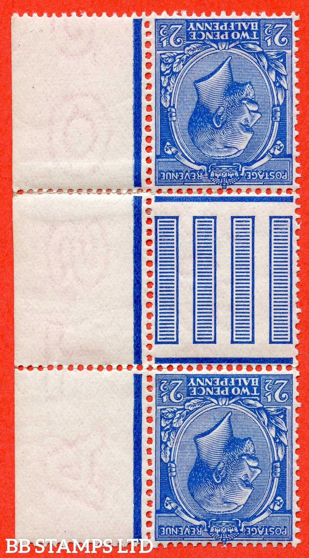 SG. 371 wk variety N21 ( UNLISTED ) d. 2½d deep bright cobalt violet blue. INVERTED & REVERSED WATERMARK. An UNMOUNTED MINT interpanneau gutter pair of this known but unlisted George V shade variety complete with Hendon certificate.