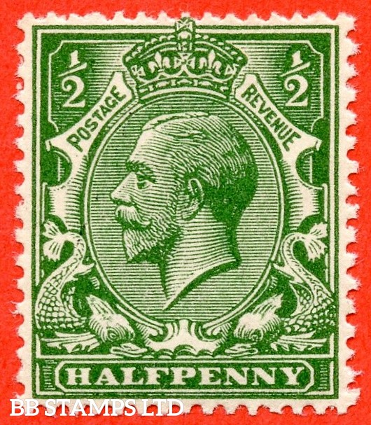SG. 354 variety N14 (UNLISTED). ½d very deep dull yellow green. A fine UNMOUNTED MINT bottom left hand corner marginal example of this known but unlisted by SG. George V shade variety complete with Hendon certificate.