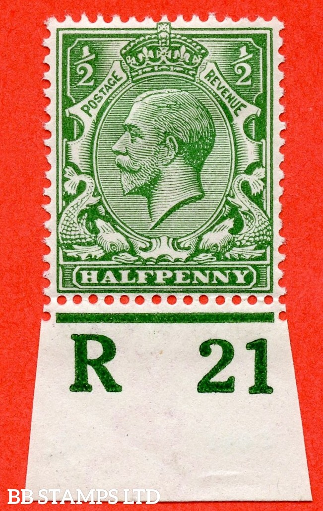 """SG. 351. ½d Green. A fine mounted mint """" R21 imperf """" control single"""