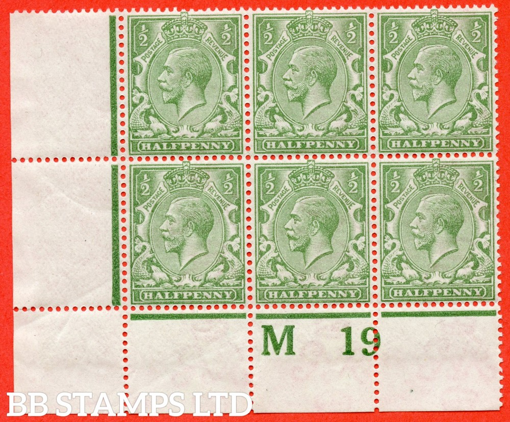 """SG. 353 variety N14 (4). 1/2d very pale green. A superb UNMOUNTED MINT """" M19 perf """" control block of 6.Perf type 2A. A VERY RARE multiple of this shade variety and complete with Hendon certificate."""