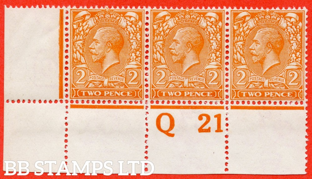 """SG. 369 variety N19 (UNLISTED). 2d pale bright orange. A super UNMOUNTED MINT control """" Q21 perf """" strip of 3 of this known but unlisted by SG. George V shade variety. Complete with Hendon certificate."""