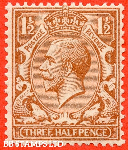 """SG. 365 variety N18 (UNLISTED). 1½d pale yellow brown. A fine UNMOUNTED MINT example of this known but unlisted by SG. George V shade variety. With a nice unlisted """" """" PENGE """" variety."""