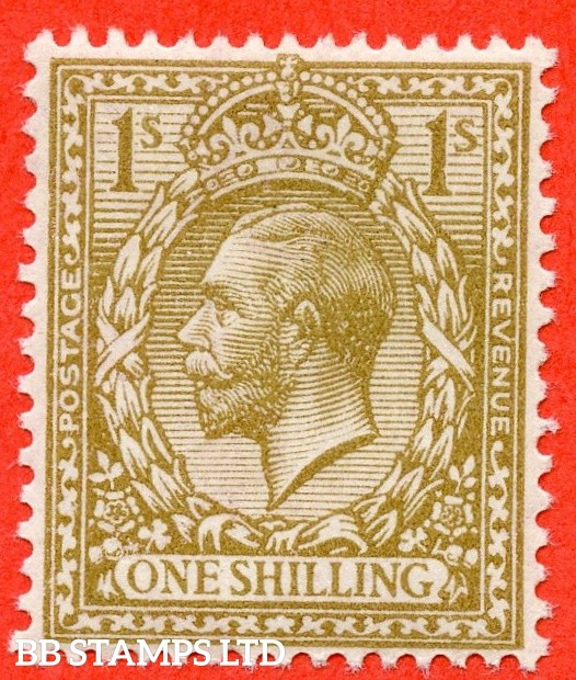 SG. 396 variety N32 (11). 1/- Yellow Brown. A superb UNMOUNTED MINT example of this RARE George V shade variety complete with RPS certificate.
