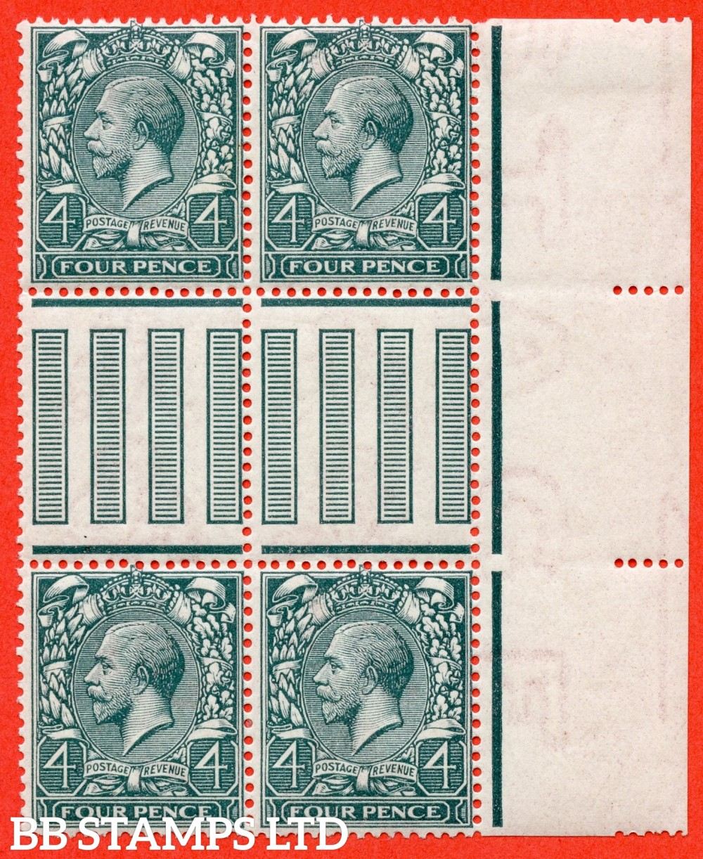 SG. N23 (5). 4d pale slate green. A fine mint ( 2 stamps UNMOUNTED MINT ) Interpanneau right hand marginal block of 4.