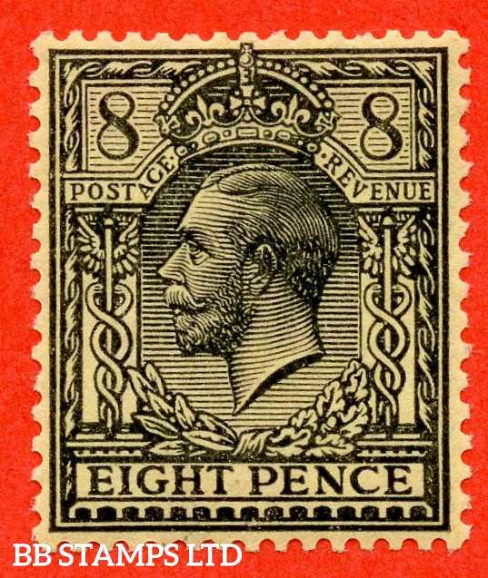 SG. 390 variety N28 (UNLISTED). 8d Pale Black On Yellow. A fine UNMOUNTED MINT example of this known but unlisted by SG. Shade variety. Complete with Hendon certificate.