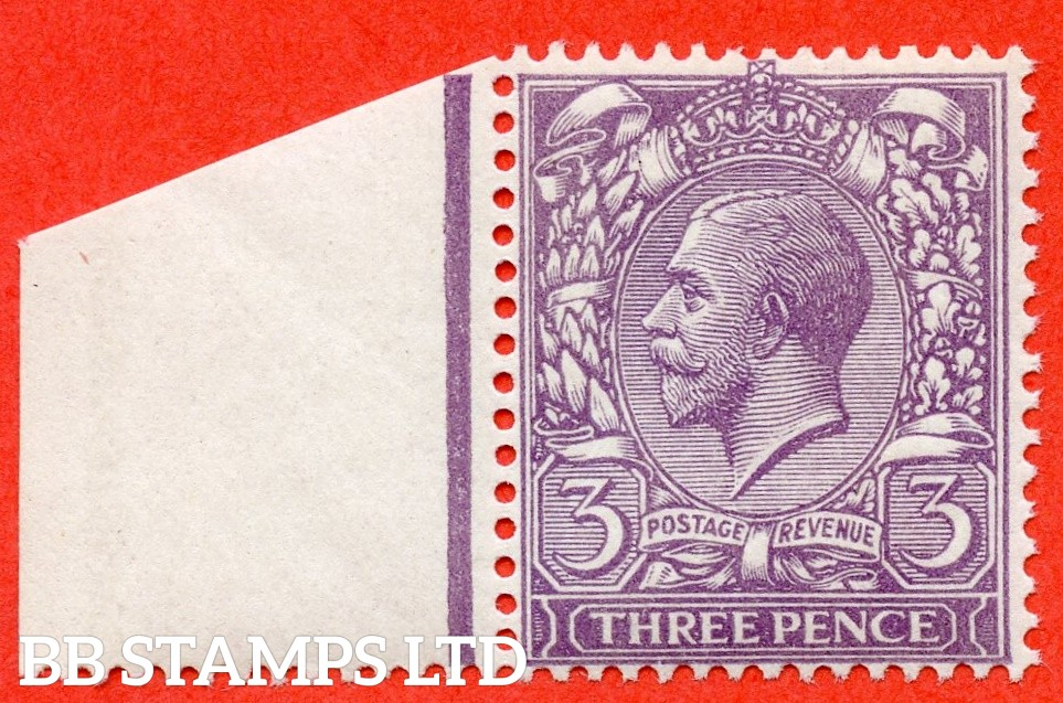 SG. 374 variety N22 (UNLISTED). 3d PALE DULL REDDISH VIOLET. A fine UNMOUNTED MINT left hand marginal example of this known but unlisted by SG. George V shade variety. Complete with Hendon certificate.
