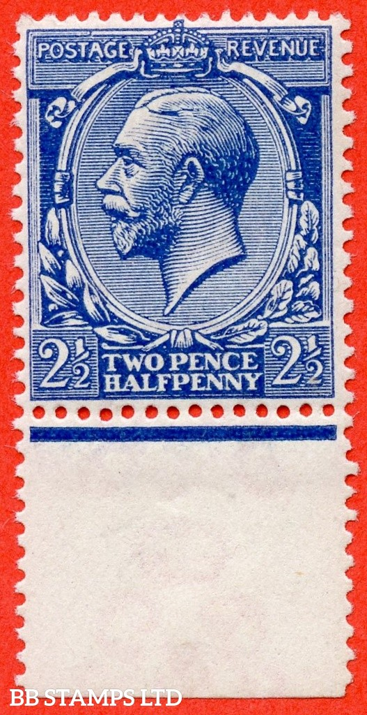 SG. 371a variety N21 (UNLISTED). 2½d VERY DEEP BRIGHT BLUE. A super UNMOUNTED MINT bottom marginal example of this known but unlisted by SG. George V shade variety complete with Hendon certificate.