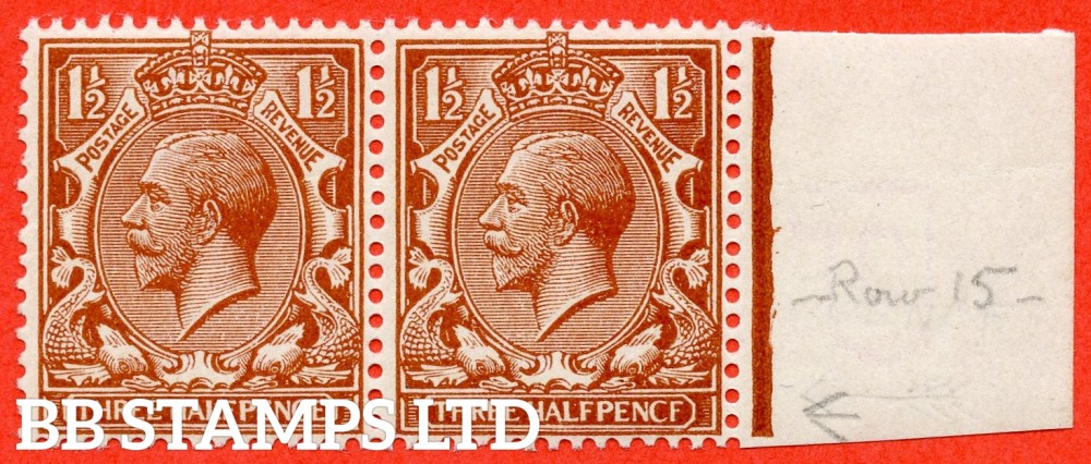 "SG. 364 a. N18 (13) f. 1 ½d Chestnut "" PENCF "" error. A fine UNMOUNTED MINT right hand marginal horizontal pair with the right hand stamp clearly showing the error."