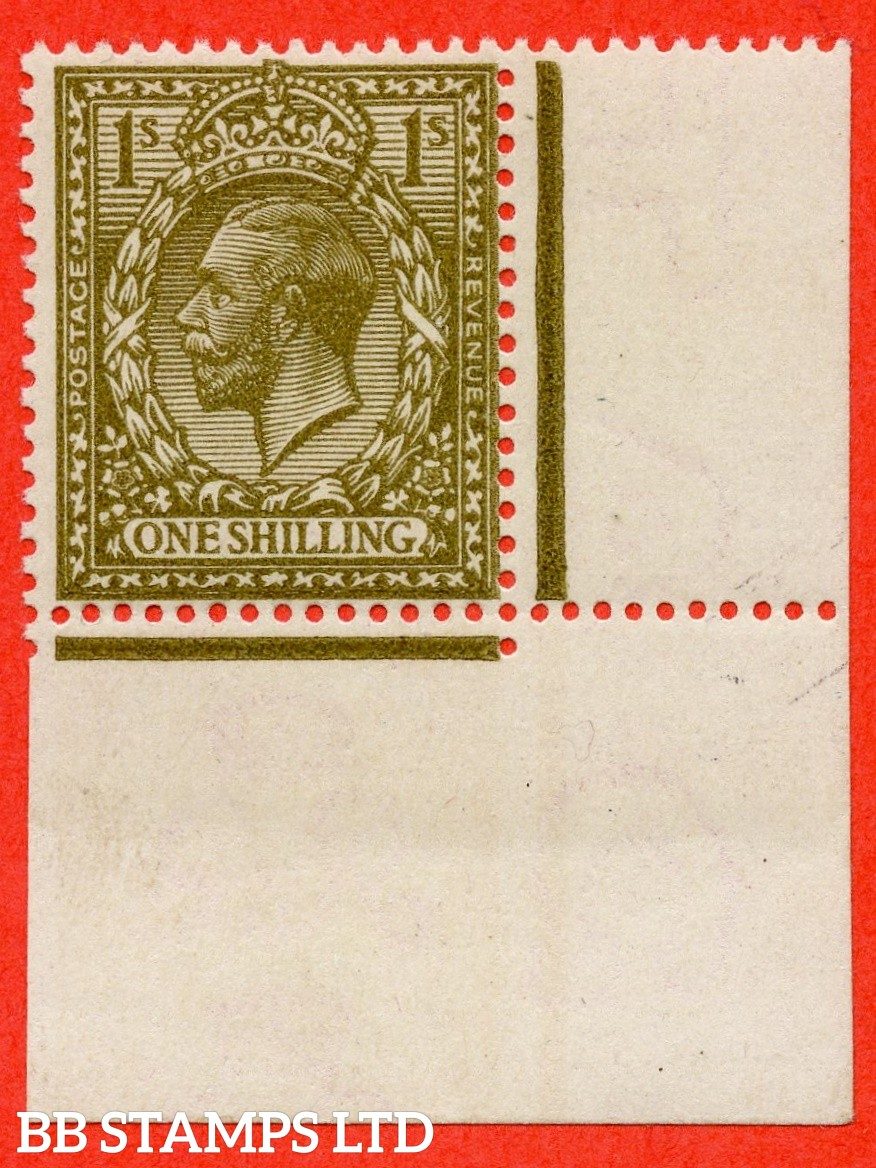SG. 396 variety N32 (10). 1/- deep bronze - brown. A superb UNMOUNTED MINT right hand marginal example of this RARE and underrated George V shade variety complete with RPS certificate.