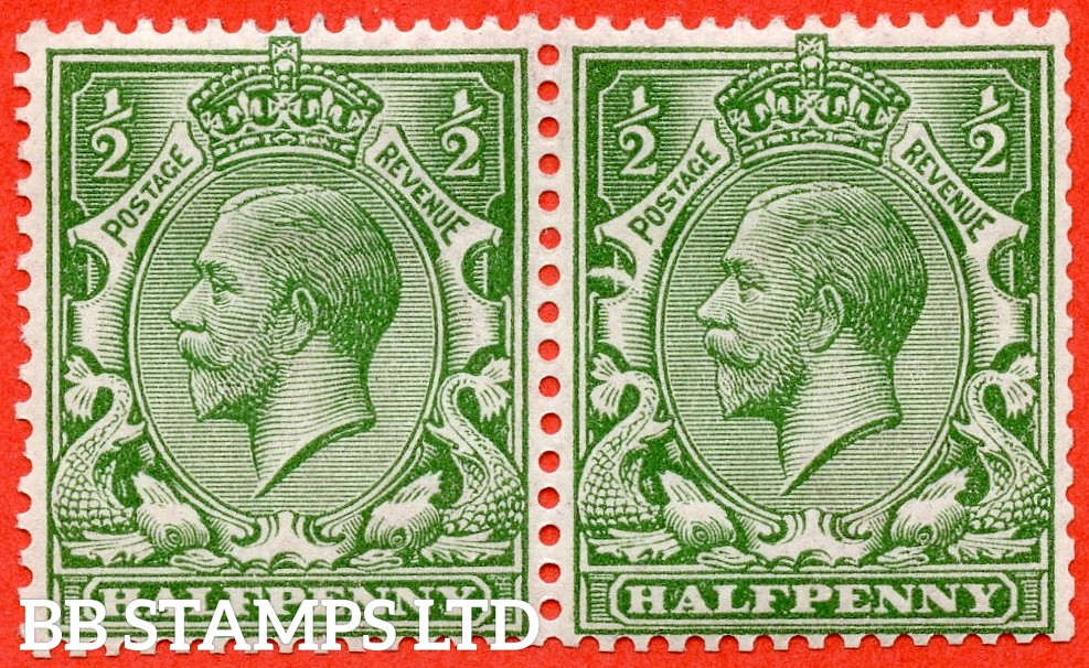 """SG. 352. N14 (6) f. ½d Green. A fine lightly mounted mint horizontal pair with the right hand stamp clearly showing the RARE listed variety """" NEW MOON flaw. Row 2/3 of booklet pane from Booklet No. BB6 Edition 13 """"."""