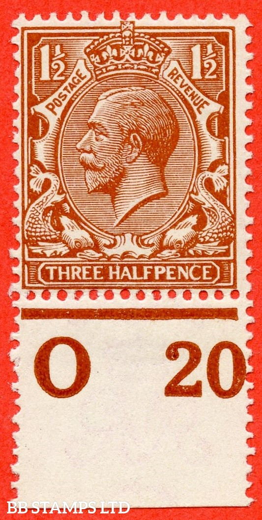 """SG. 364 variety N18 (16). 1½d Bright Orange Brown. A super UNMOUNTED MINT control """" 020 perf """" example complete with RPS certificate."""
