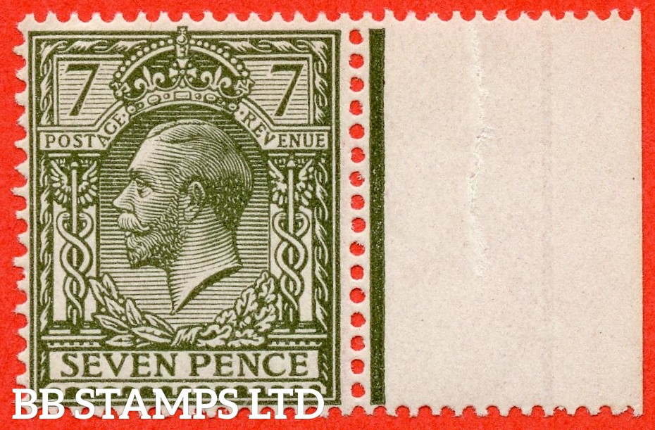 """SG. 389. N27 (4) a. 7d sage green. """" NO WATERMARK """". A very fine UNMOUNTED MINT right hand marginal example."""