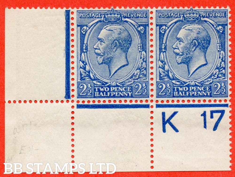 "SG. 372. N21 (10). 2½d Blue. A very fine lightly mounted mint control "" K17 perf "" horizontal pair with perf type 2A. Watermark type II. A VERY RARE control being by far the rarest of all the 2½d's."