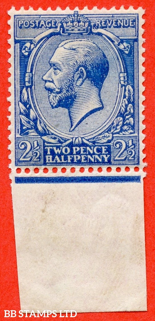 SG. 372 variety N21 (12). 2½d Deep Blue. A fine UNMOUNTED MINT bottom marginal example. Complete with HENDON certificate. An excellent reference example.