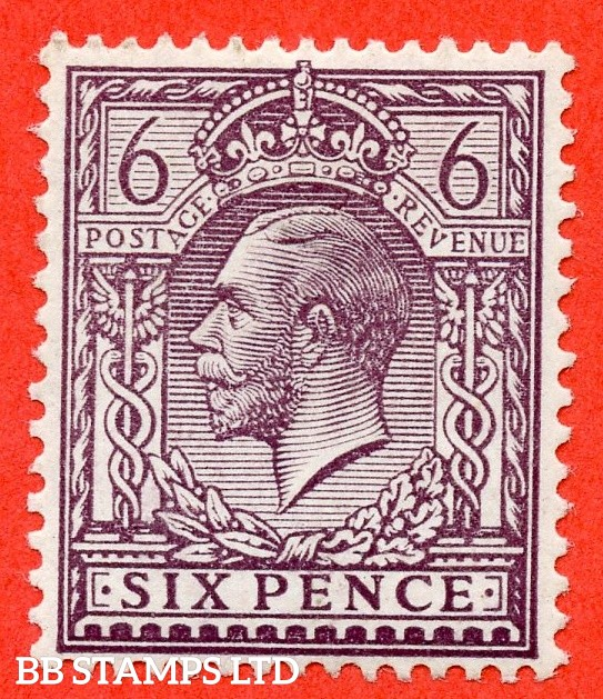 SG. 384 variety N26 (2). 6d Slate purple. A fine UNMOUNTED MINT example of this very difficult George V shade complete with RPS certificate.