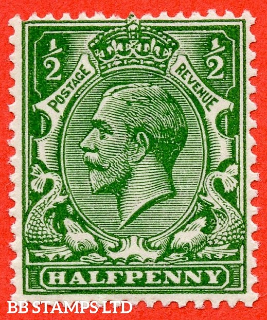 SG. 354 variety N14 ( UNLISTED ). ½d very deep bright yellow green. A fine mounted mint example of this known but unlisted by SG George V shade variety. Complete with Hendon certificate.