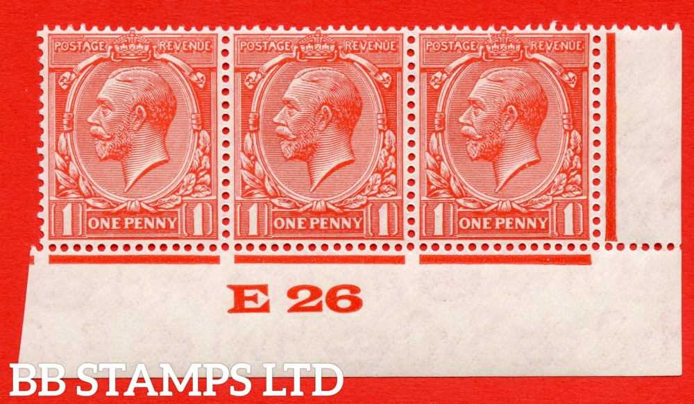 """SG. 419 variety N34 (3)f. 1d Scarlet Vermilion. A superb UNMOUNTED MINT control """" E26 Imperf """" Perf type 2c strip of three with the RARE listed variety """" Gash In  Crown """". A RARE multiple with both varieties."""