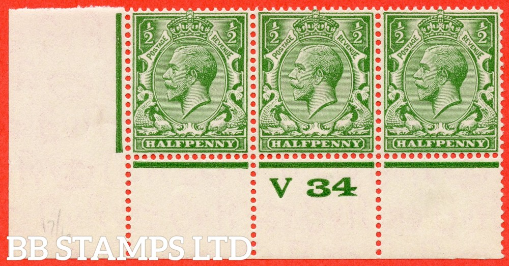 """SG. 418 variety N33 (UNLISTED). ½d Bright Yellow Green. A SUPERB totally UNMOUNTED MINT control """" V34 perf """" strip of 3 with the scarce perf type 3A."""