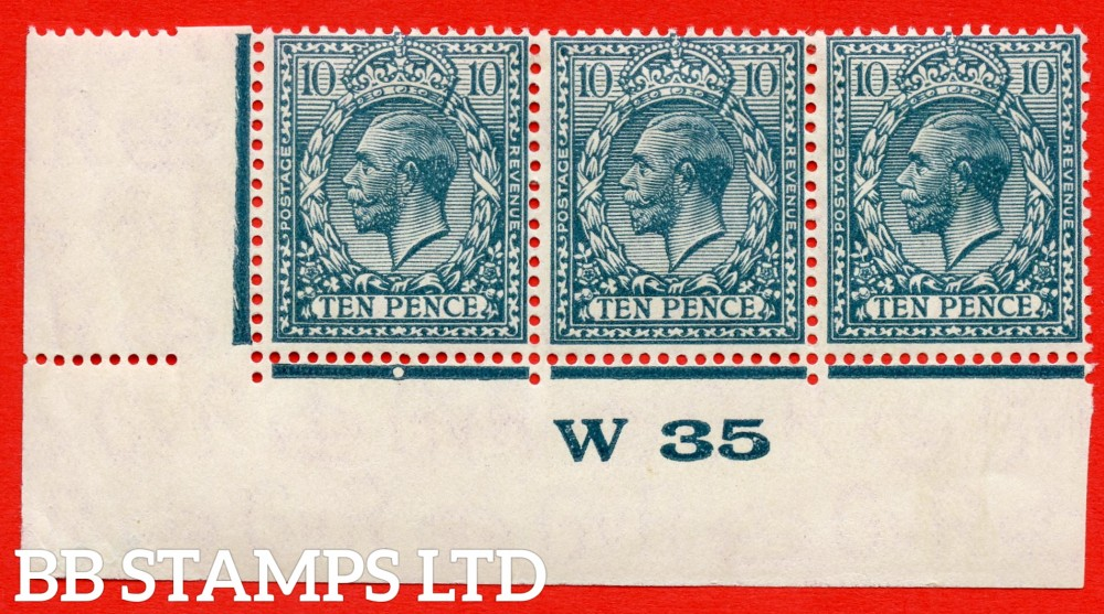 "SG. 428 variety N44 (4). 10d Deep Dull Greenish Blue. A mounted mint control "" W35  imperf "" strip of 3 from plate 2b. Perf type 2. A scarce multiple."