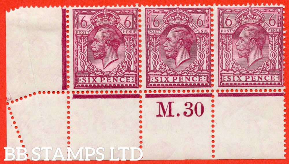 "SG. 426a Variety N42 (3). 6d Reddish Purple. A fine mounted mint control "" M.30 perf "" strip of 3. Perf type 2A. The only example we know of. A VERY RARE strip of 3."