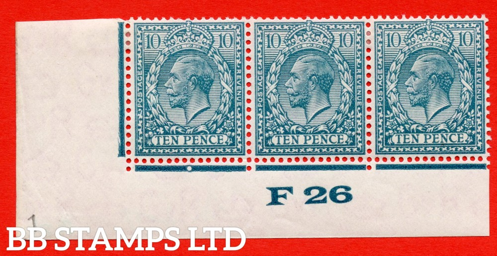 """SG. 428. N44 (1). 10d Turquoise Blue. A fine mounted mint control """" F26 imperf """" strip of 3 from plate 2b. Perf type 2."""