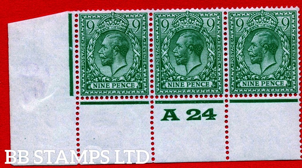 """SG. 427 variety N43 (2). 9d Olive Green. A fine UNMOUNTED MINT ( thin in margin ) control """" A24 perf """" strip of 3. Perf type 3A. A scarce multiple these days."""