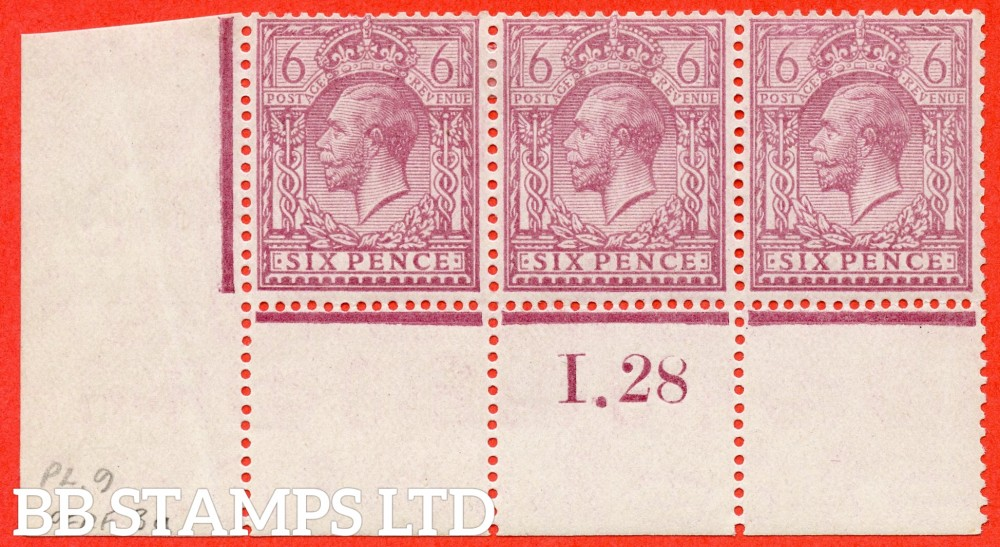 """SG. 426a variety N42 ( UNLISTED ). 6d VERY Pale Rosy Mauve. A fine mounted mint contol """" I.28 perf """" control strip of 3 of this scarce block cypher control in a known but unlisted by SG. Shade variety complete with Hendon certificate."""