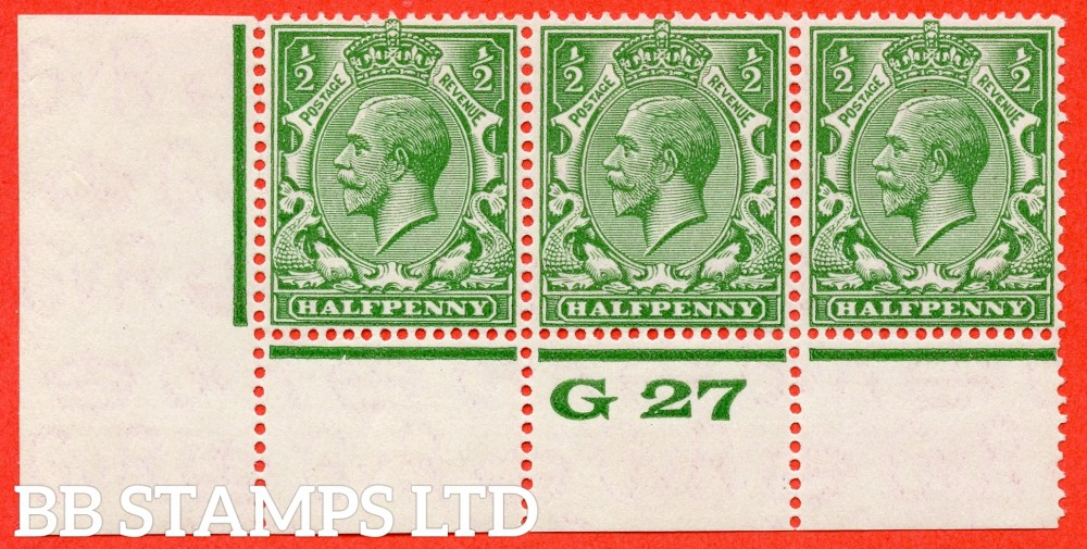 """SG. 418. variety N33. (UNLISTED). ½d Cobaly Yellow Green. A SUPERB UNMOUNTED MINT control """" G27 perf """" strip of 3 with the scarce perf type 3A."""