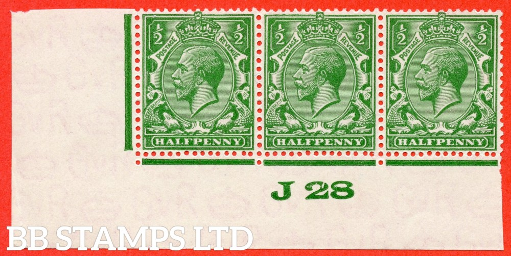 """SG. 418 N33 ( UNLISTED ). ½d deep cobalt green. A very fine UNMOUNTED MINT control """" J28 imperf """" strip of 3 of this known but unlisted by SG. George V shade variety. Complete with Hendon certificate."""