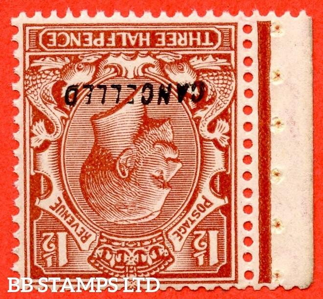 """SG. 420 wi variety N35 (4) c w. 1½d red - brown. INVERTED WATERMARK. Overprinted """" CANCELLED """" type 28. A superb UNMOUNTED MINT example."""