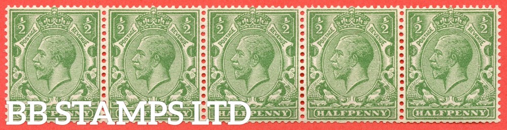 SG. 418a variety N33 (6)b. ½d Yellow Green. SIDEWAYS WATERMARK. A fine UNMOUNTED MINT horizontal strip of 5. A scarce multiple these days.