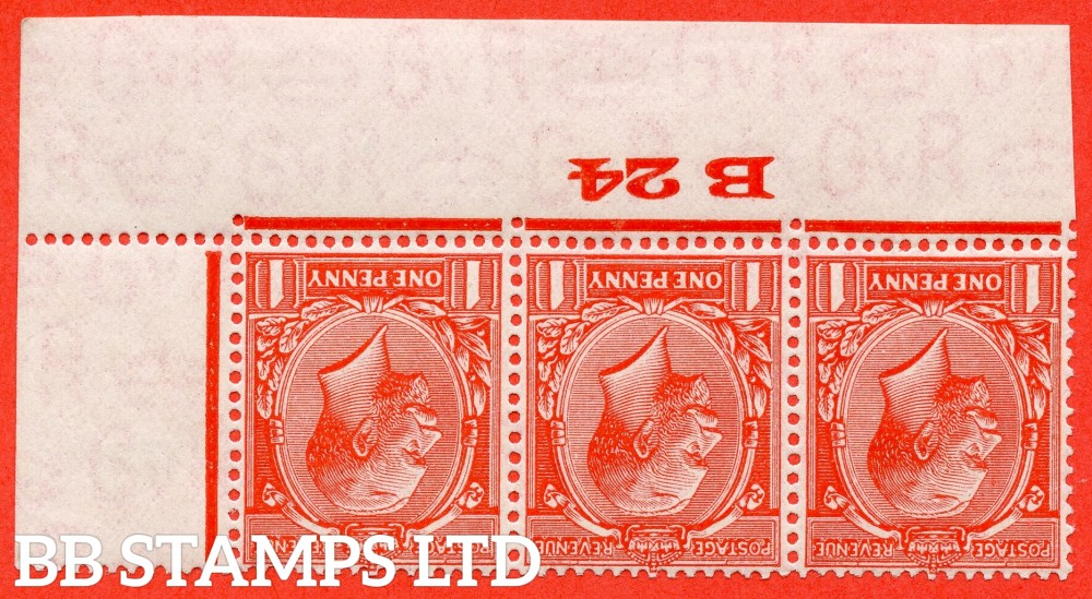 """SG. 419wi. N34 (1)b. 1d scarlet. INVERTED WATERMARK. A fine mounted mint control """" B24 Imperf """" strip of 3. Perf type 2."""