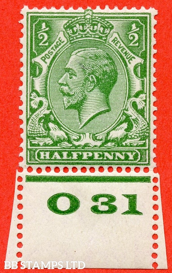 "SG. 418 variety N33 (6). ½d Yellow Green. A fine UNMOUNTED MINT control "" 031 perf "" example with the RARE perf type 3A. This being the 3rd example we have handled."