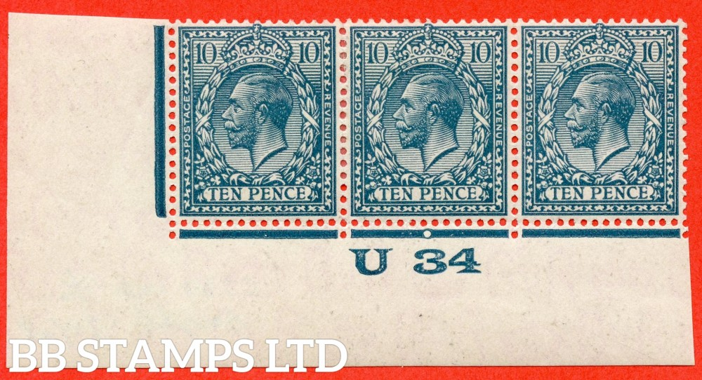 """SG. 428 variety N44 (3). 10d dull greenish blue. A very fine mounted mint control """" U34 imperf """" bottom left hand corner strip of 3 from the RARE Waterlow Provisional printing Comb head ' D '. Complete with RPS certificate."""