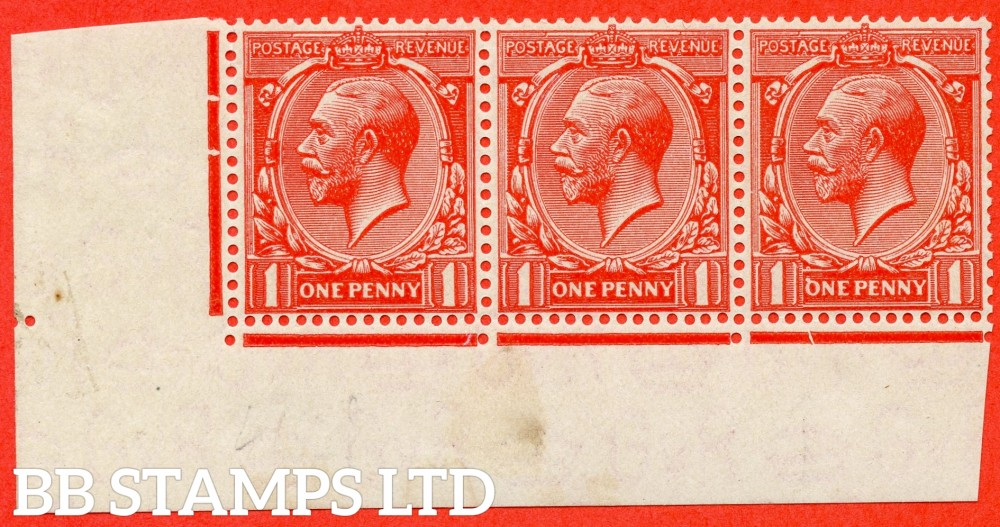 """SG. 419 d. N34 (3) d. 1d scarlet vermilion. A fine UNMOUNTED MINT bottom left hand corner marginal strip of 3 with the listed """" INVERTED ' Q ' FOR ' O ' IN ONE """" variety. A RARE stamp and complete with RPS certificate."""