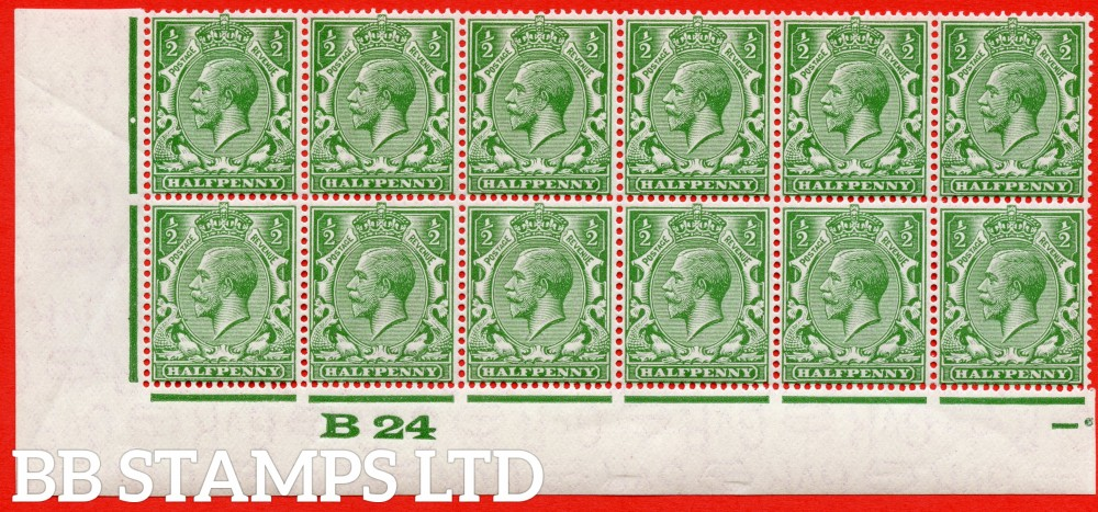 """SG. 418wi. N33 (1)a. ½d green.  INVERTED WATERMARK. A superb UNMOUNTED MINT control """" B24 imperf """" perf type 2c block 12. A RARE multiple with both varieties."""