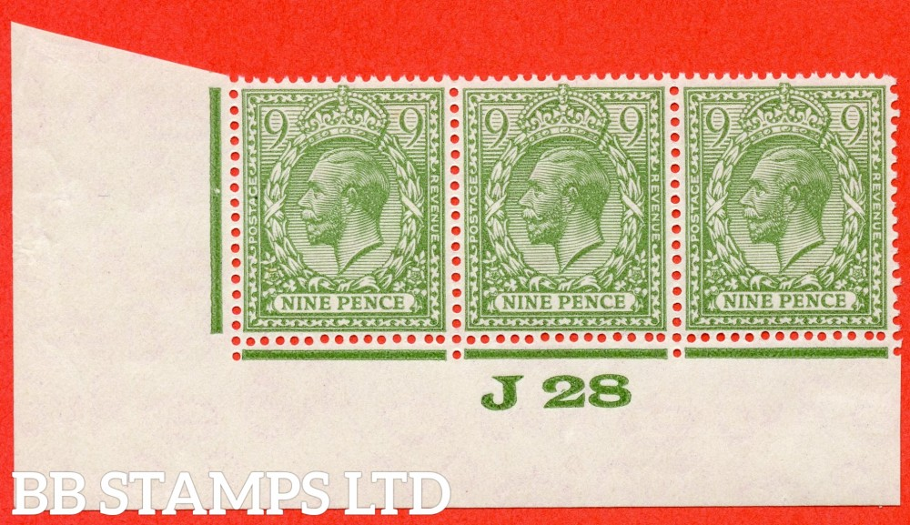 "SG. 427 variety N43 (UNLISTED). 9d pale dull olive yellow green. A fine UNMOUNTED MINT "" J28 imperf "" control strip of 3 of this known but unlisted by SG. George V shade variety. Complete with Hendon certificate."