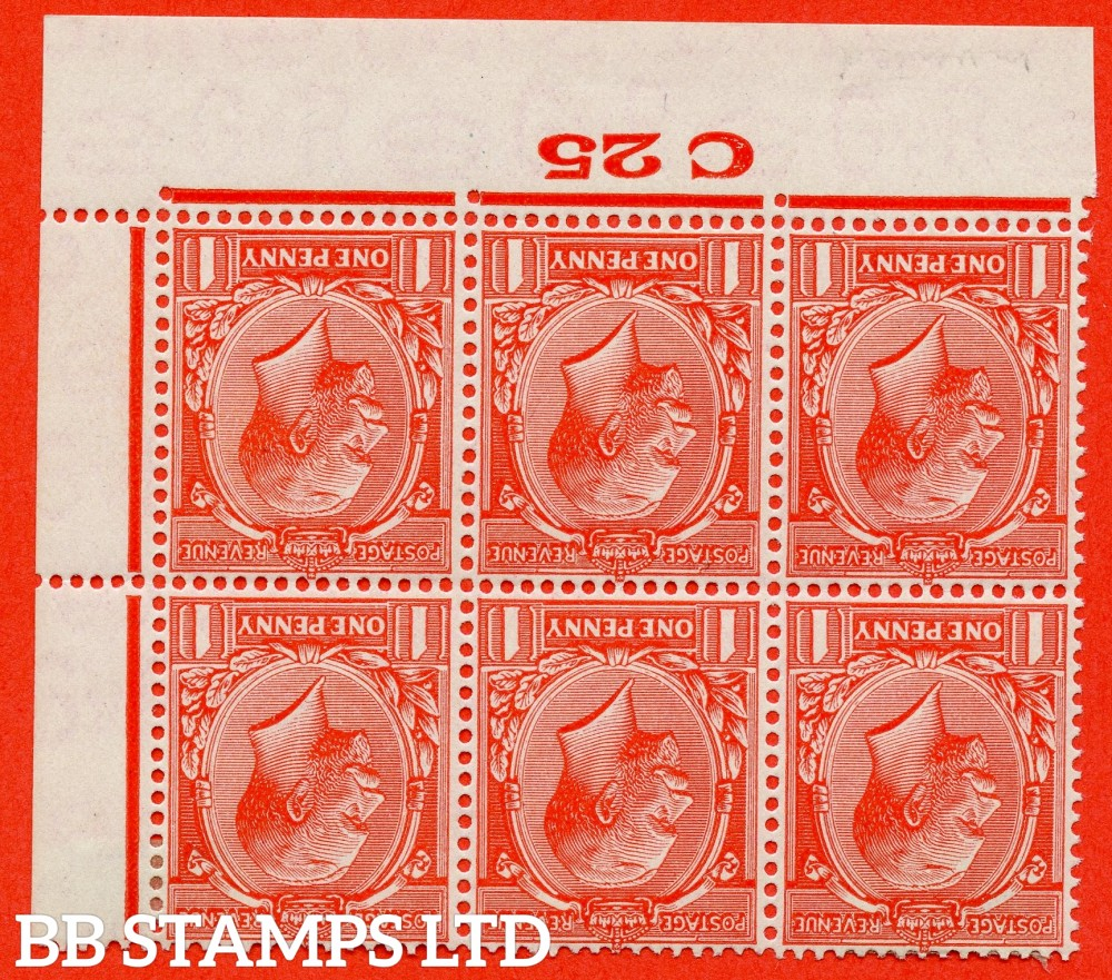 """SG. 419wi. N34 (1)b. 1d scarlet. INVERTED WATERMARK. A fine mounted mint control """" C25 Imperf """" block of 6. Perf type 2."""