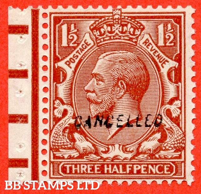 """SG. 420 variety  N35 (4) w. 1½d chestnut. Overprinted """" CANCELLED """" type 28. A superb UNMOUNTED MINT example."""