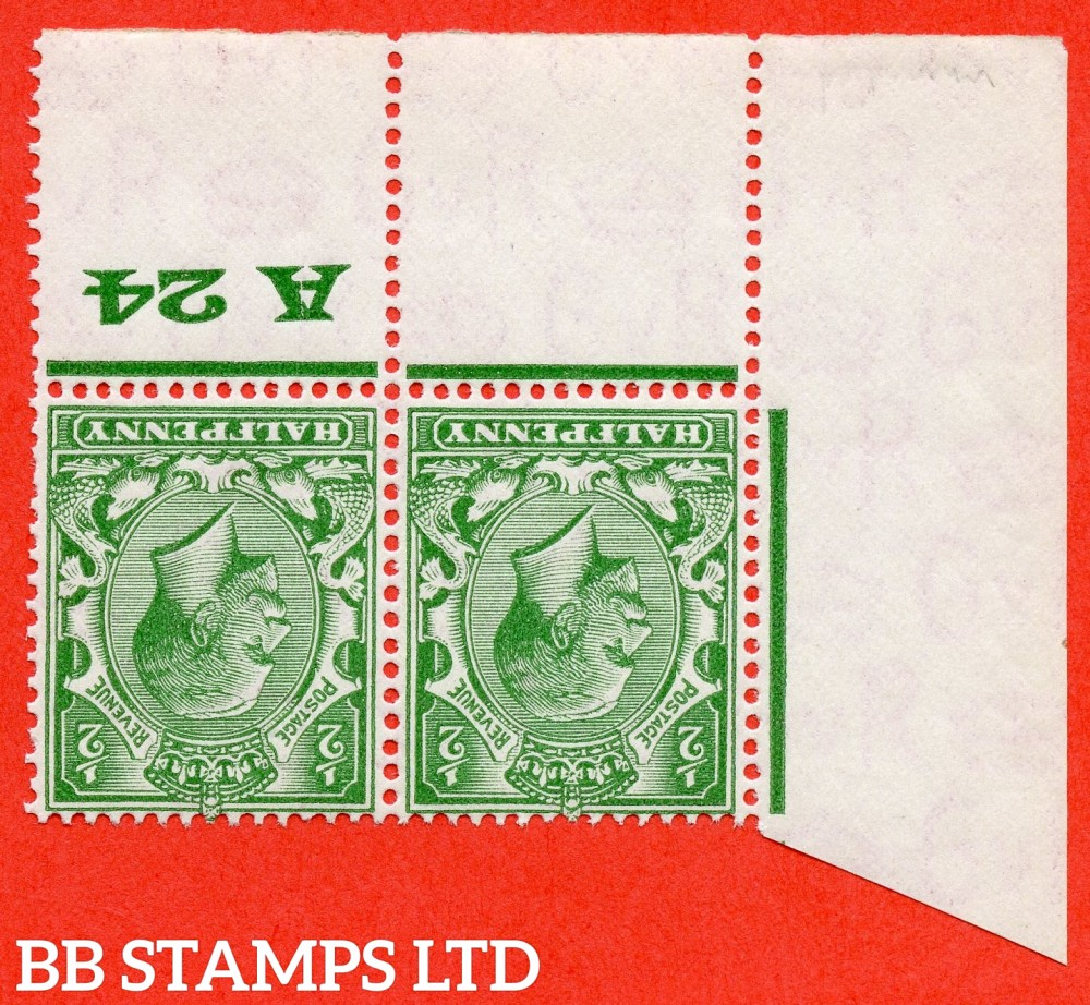 """SG. 418wi. N33 (1)a. ½d green. INVERTED WATERMARK. A fine UNMOUNTED MINT control """" A24 perf """" bottom left hand corner marginal pair. Perf type 3A. A scarce combination of watermark variety and scarce perf type."""