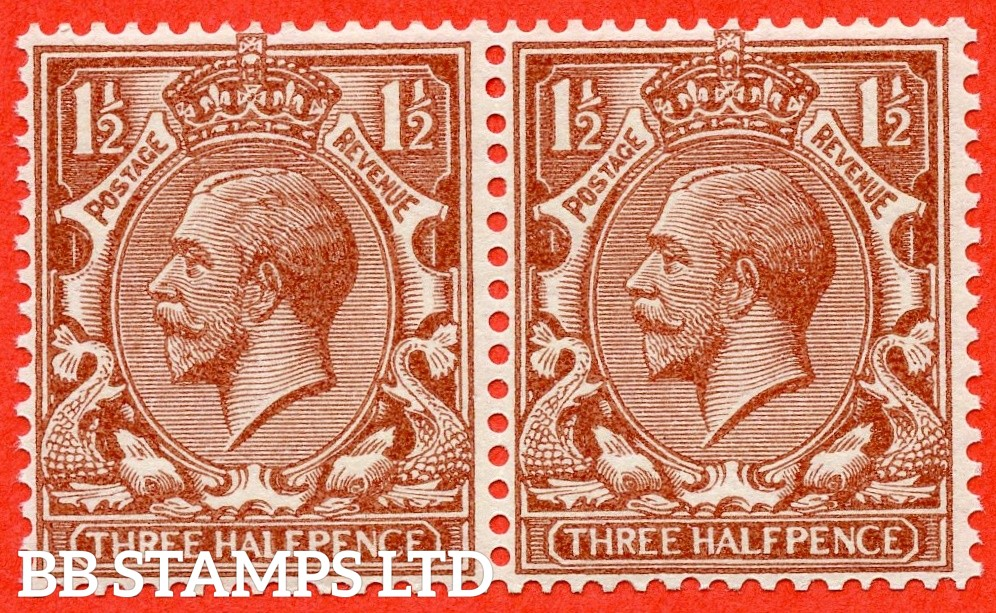 "SG. 420 b. N35 (1) ka. 1½d Red brown. SIDEWAYS WATERMARK. A super UNMOUNTED MINT horizontal pair with the left hand stamp clearly showing the very scarce "" Spot on King's nose from horizontal coil "" variety."
