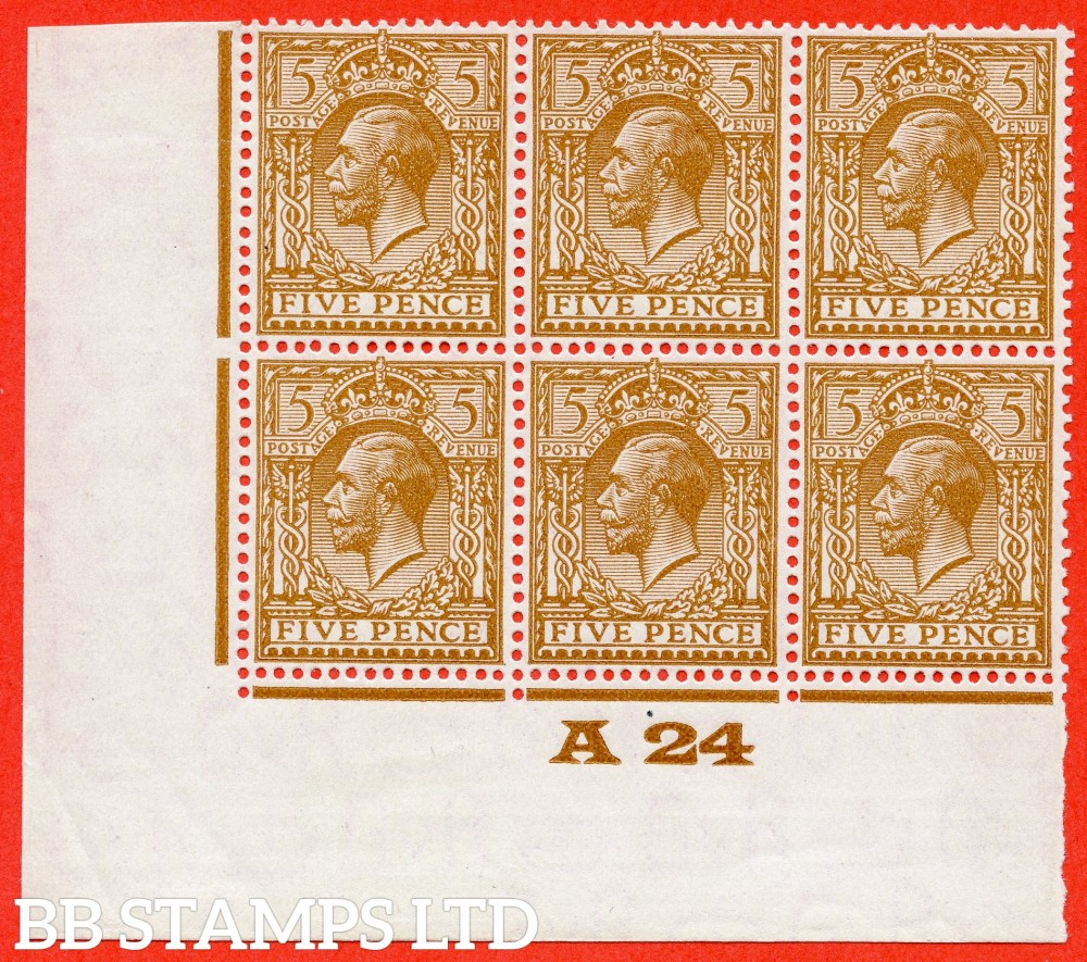 "SG. 425 variety N40 ( UNLSTED ) 5d bright reddish brown. A fine ( 5 stamps UNMOUNTED MINT ) control "" A24 imperf "" block of 6 of this known but unlisted by SG. George V shade variety complete with Hendon certificate."