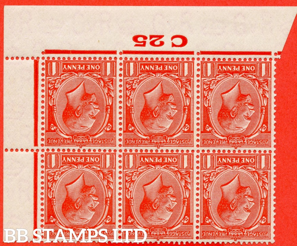 """SG. 419wi variety N34 (UNLISTED)b. 1d Deep Bright Scarlet. INVERTED WATERMARK. A super totally UNMOUNTED MINT control """" C25 Imperf """" block of 6. Perf type 2. A Scarce block to find UNMOUNTED MINT."""