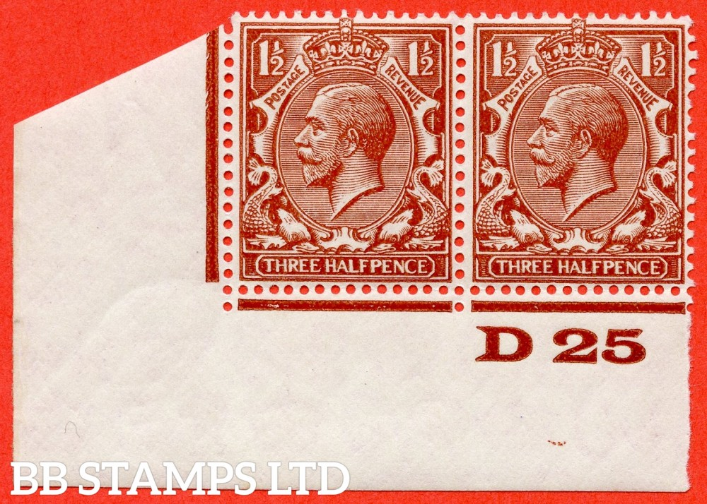 """SG. 420 g. N35 (2) b. 1½d Deep Red - brown. """" Experimental paper """". A very fine UNMOUNTED MINT bottom left hand corner marginal control """" D25 imperf """" pair. Perf type 2."""