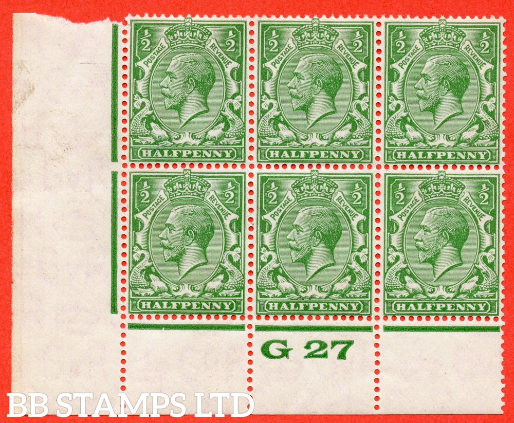 """SG. 418 variety N33(UNLISTED). ½d Cobalt Green. A fine totally UNMOUNTED MINT control """" G27 perf """" block of 6 with the scarce perf type 3A."""