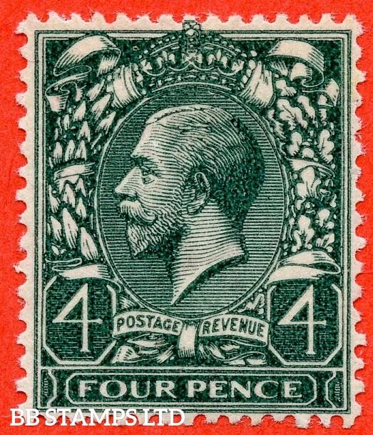 "SG. 424 a. N39 (2) b.4d grey green. Printed on the "" GUMMED SIDE "". A super UNMOUNTED MINT example of this rare George V ERROR variety. INVERTED & REVERSED watermark as usual. A RARE stamp to find in this grade."