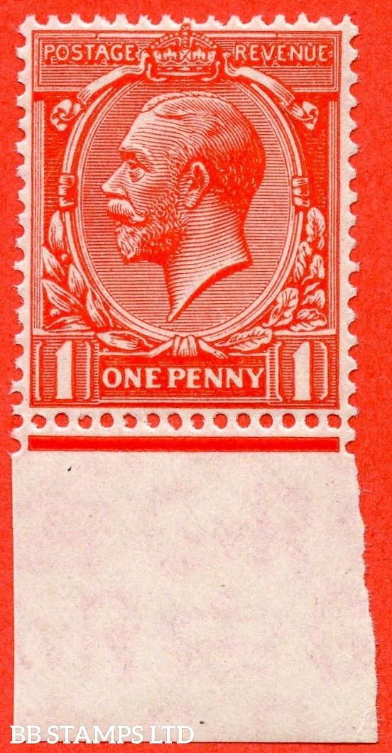 """SG. 419b. Variety N34 (UNLISTED) a. 1d DEEP Bright scarlet vermilion. """" Experimental paper """".  A Super UNMOUNTED MINT bottom marginal example of this known but unlisted by SG. GV shade variety complete with Hendon certificate."""