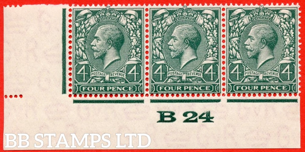 "SG. 424 variety N39 (1). 4d deep grey green. A super totally UNMOUNTED MINT control "" B24 imperf "" strip of 3 with the scarce perf type 2C."
