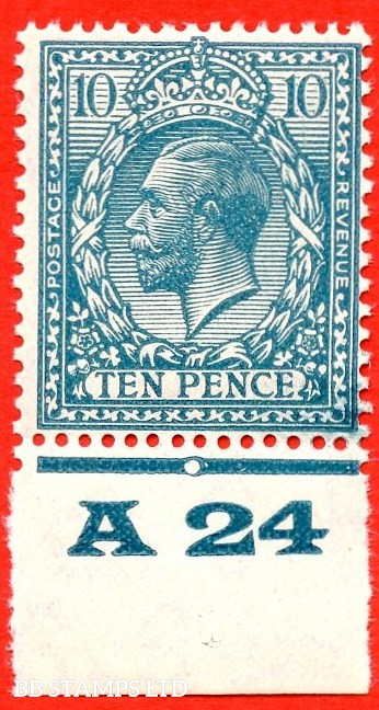 """SG. 428. N44 (1). 10d Turquoise Blue. A very fine UNMOUNTED MINT control """" A24 imperf """" example. Perf type 2. Plate 1c. A RARE control to find UNMOUNTED MINT."""